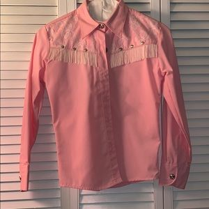 Other - Pink and fringe Cowgirl blouse
